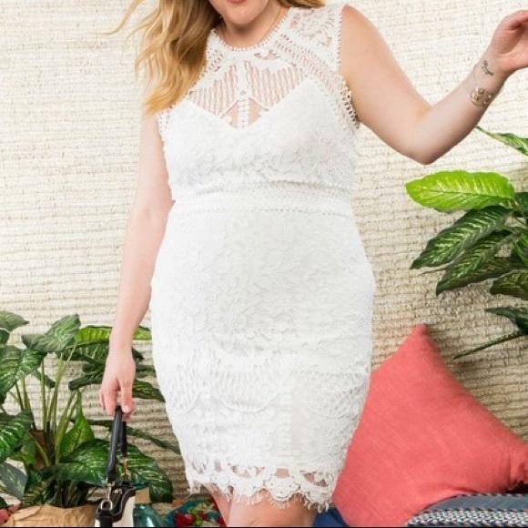 Plus Size Off White Lace Crochet Dress Boutique